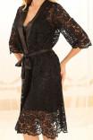 Кружевной халат с атласными акцентами X-M-23 в чёрном цвете от Violet delux