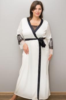 Элегантный шелковый халат 403 с кружевными вставками