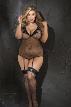 Сексуальное сетчатое боди с чулками большого размера X90386 от Shirley