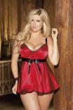 Красный бебидолл с формованными чашками и черной отделкой X25106 от Shirley of Hollywood
