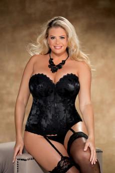 Роскошный черный корсет большого размера с кружевом и стрингами X26956 от Shirley of Hollywood