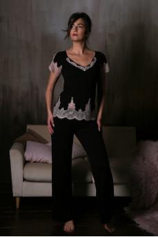Красивая черная пижама с кружевом 10708C-10714C от Effetto