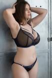 Сексуальный черный бюстгальтер-планж с синей отделкой Submission от Scantilly