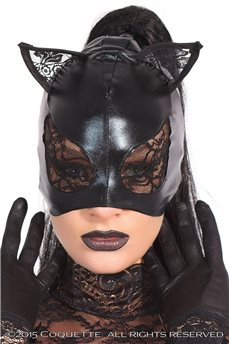 Игровая маска кошки с кружевом от Coquette