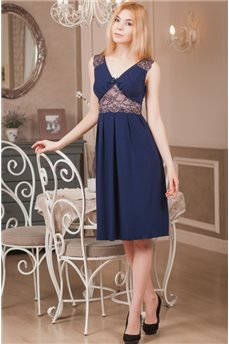 Элегантная синяя сорочка с полупрозрачным кружевом Violet Delux