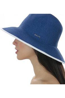 Шляпа летняя синяя с белым ободком от Delmare