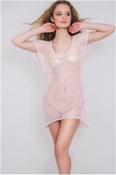 Розовая пляжная туника сетка 063 от Calipso
