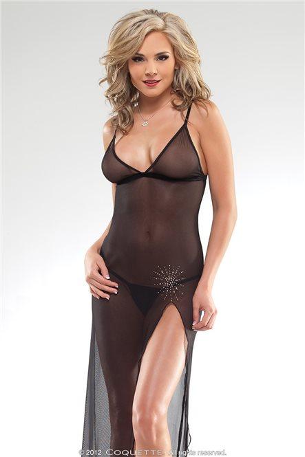 Прозрачное длинное платье