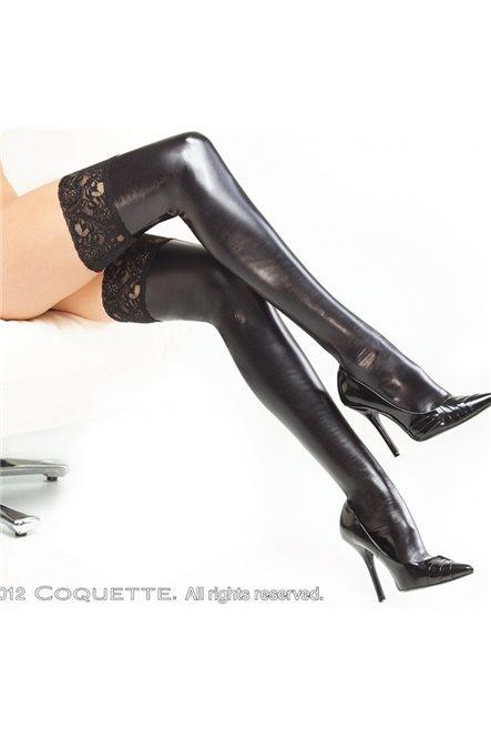 Большого размера глянцевые высокие чулки на силиконе от Coquette