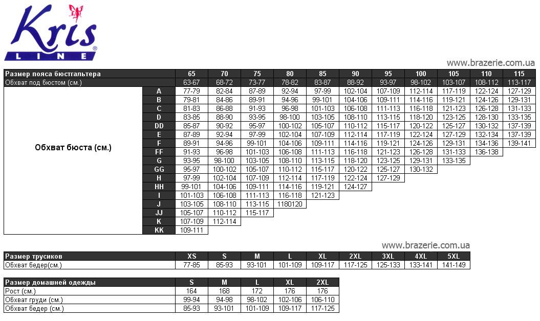 Krisline таблица размеров